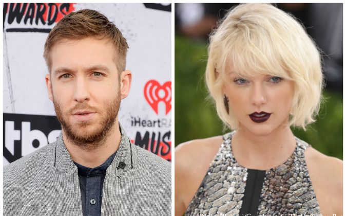 (L-R) Calvin Harris and Taylor Swift