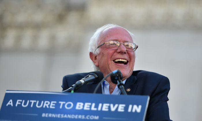 Democratic presidential candidate Bernie Sanders addresses a rally at Frank Ogawa Plaza in Oakland, Calif., on May 30, 2016. (Josh Edelson/AFP/Getty Images)