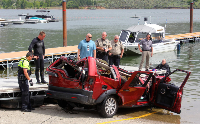 A 40-year-old Boise, Idaho woman drove her SUV off a high-bridge during the morning hours on June 2. The crash killed the woman and three children inside the Land Rover; two girls, ages 12 and 6, and a 10-year-old boy. (Ada County Sheriff's Office photo)