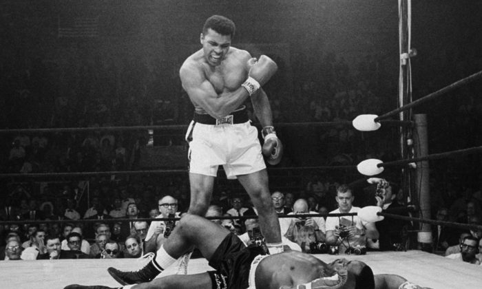 Heavyweight champion Muhammad Ali stands over fallen challenger Sonny Liston, shouting and gesturing shortly after dropping Liston with a short hard right to the jaw in Lewiston, Maine, on May 25, 1965. The bout lasted only one minute into the first round. Ali is the only man ever to win the world heavyweight boxing championship three times. He also won a gold medal in the light-heavyweight division at the 1960 Summer Olympic Games in Rome as a member of the U.S. Olympic boxing team. In 1964, he dropped the name Cassius Clay and adopted the Muslim name Muhammad Ali. (AP Photo/John Rooney)