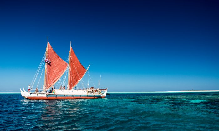 The Hokule'a, a replica ancient Polynesian voyaging canoe, on a two-year worldwide voyage. (BRYSON HOE/POLYNESIAN VOYAGING SOCIETY/'OIWI TV)