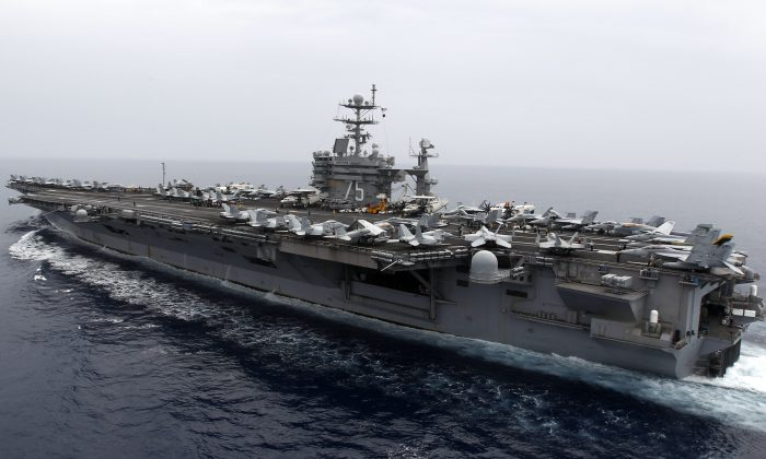 A general view shows the nuclear-powered US aircraft carrier USS Harry S. Truman at an undisclosed position in the Mediterranean Sea, south of Sicily, June 14, 2010. (Fabrizio Bensch/AFP/Getty Images)