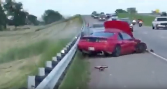 The end of the video shows Wilson's car after it hits the guardrail. (MotorChase/YouTube)