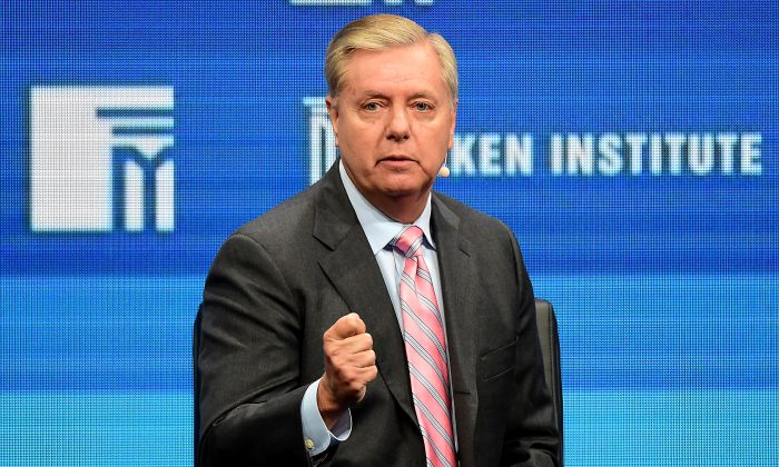 """U.S. Sen. Lindsay Graham (R-S.C.) speaks during the lunch program panel """"ISIS and Global Terrorism: What It Will Take to Defeat Them"""" at the 2016 Milken Institute Global Conference in Beverly Hills, Calif., on May 3, 2016. (Frederic J. Brown/AFP/Getty Images)"""
