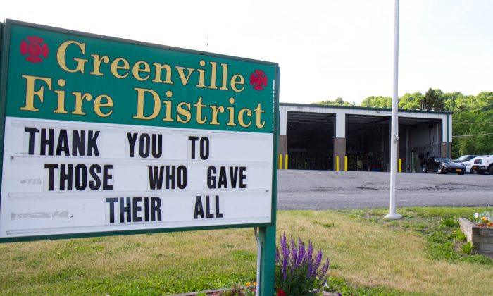 The sign in front of the Greenville Township Fire Company fire house on Route 6 in Greenville on May 31, 2016.  (Holly Kellum/Epoch Times)