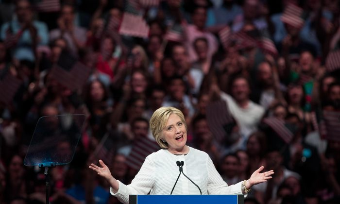 Democratic presidential candidate Hillary Clinton speaks during a primary night rally at the Duggal Greenhouse in the Brooklyn Navy Yard, June 7, 2016 in the Brooklyn borough of New York City.Photo by Drew Angerer/Getty Images)