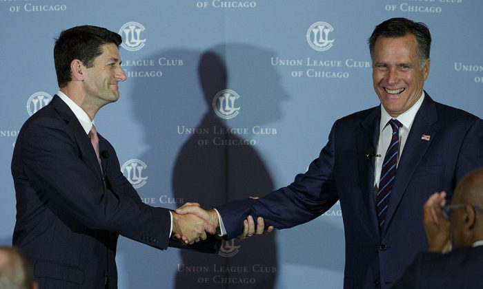 Former Republican presidential candidate Mitt Romney (R) with Rep. Paul Ryan (R-WI) at the Union League Club of Chicago August 21, 2014 in Chicago. (John Gress/Getty Images)