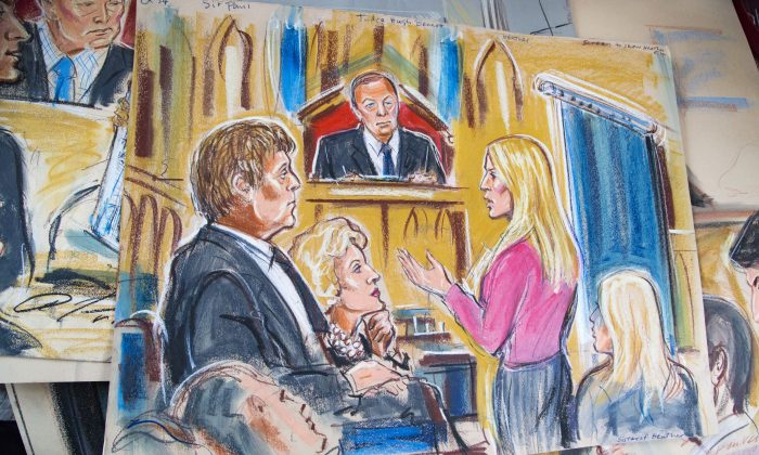 Sir Paul McCartney and Heather Mills divorce case by Priscilla Coleman. (Si Gross/Epoch Times)