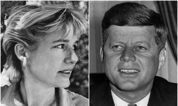 Left: Mary Pinchot Meyer, a Washington painter who allegedly had a secret affair with U.S. President John F. Kennedy, is shown in this undated photo. (AP Photo); Right: President John F. Kennedy, Jan. 21, 1961, on his first day in office. (AP PHOTO)