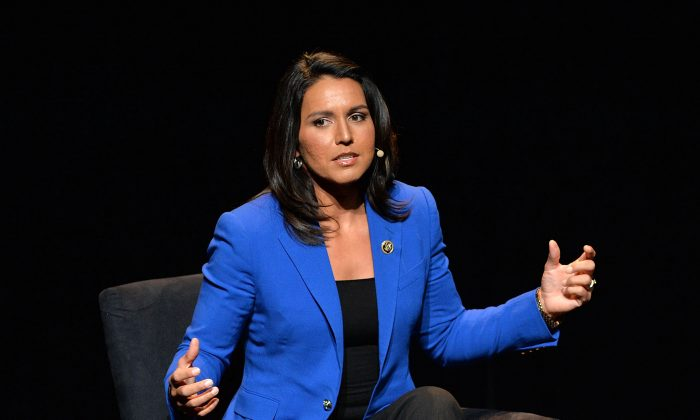 "U.S. Representative, HI-02 Tulsi Gabbard attends the 2016 ""Tina Brown Live Media's American Justice Summit"" at Gerald W. Lynch Theatre on January 29, 2016 in New York City.  (Photo by Slaven Vlasic/Getty Images)"