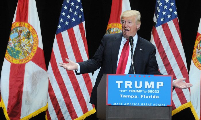 Republican presidential candidate Donald Trump speaks during a campaign rally  at the Tampa Convention Center on June 11, 2016 in Tampa, Florida.  (Photo by Gerardo Mora/Getty Images)