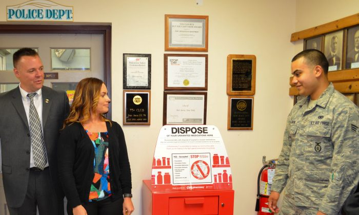 Medication Disposal box installed at the Port Jervis Police Department on June 13, 2016. (Yvonne Marcotte/Epoch Times