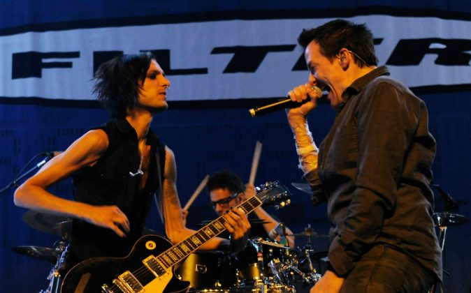 Filter guitarist Jonny Radtke (L) and singer Richard Patrick perform at The Joint inside the Hard Rock Hotel & Casino as the band tours in support of the album, 'The Trouble with Angels' September 29, 2011 in Las Vegas, Nevada. (Ethan Miller/Getty Images)