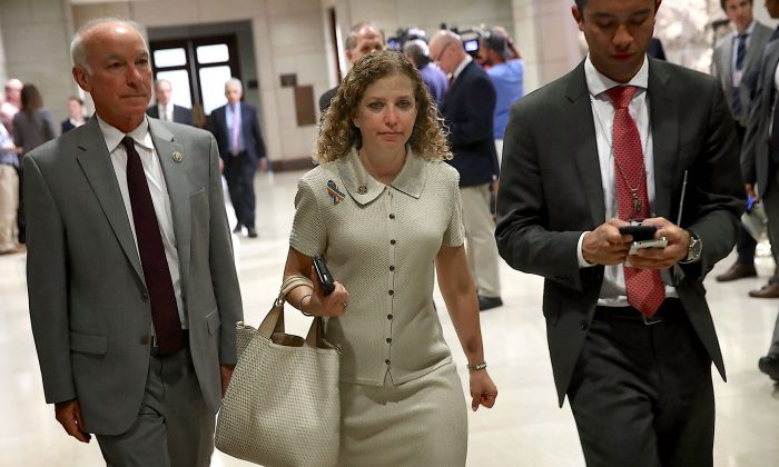 Democratic National Committee Chairwoman Rep. Debbie Wasserman Schultz (C) (D-FL) arrives for a closed briefing for members of the House of Representatives at the U.S. Capitol June 14, 2016 in Washington, DC. (Win McNamee/Getty Images)