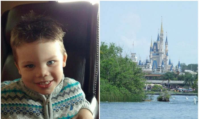 Left: Lane Graves. (Courtesy of Orange County Sheriff's Office); Right:  View of Cinderella Castle at the Walt Disney World Resort from Seven Seas Lagoon. (DearCatastropheWaitress/CC BY-SA 3.0)