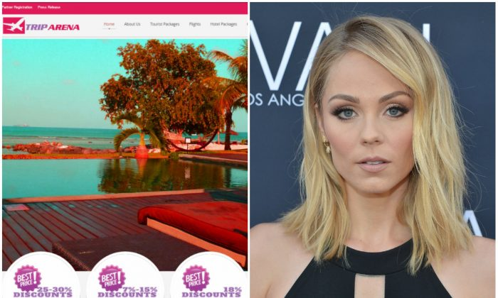 Left: Screenshot of TripArenaonline.com. (Internet Archive); Right: Laura Vandervoort on May 24, 2016 in Beverly Hills, California. (Charley Gallay/Getty Images for Jovani)