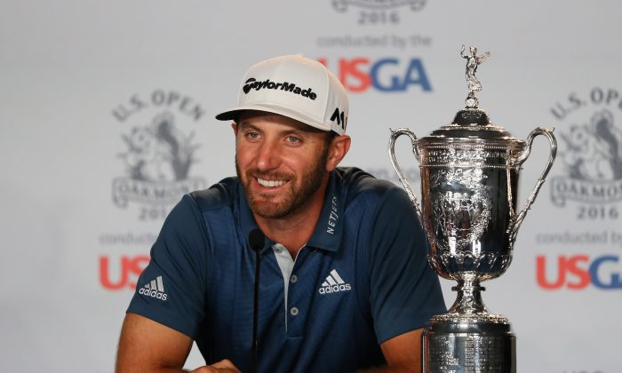 Dustin Johnson speaks at a press conference after winning the U.S. Open at Oakmont Country Club on June 19 in Oakmont, Pennsylvania. (Andrew Redington/Getty Images)