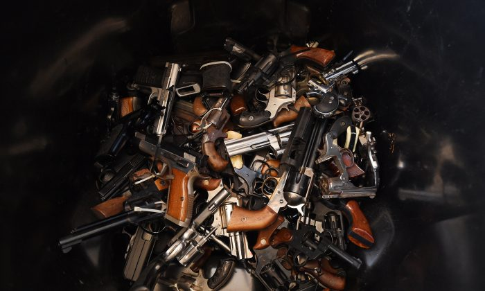 Handguns that were swapped for gift cards during a Los Angeles Police Department sponsored gun buyback event in Los Angeles, Calif., on Dec. 13, 2014. (Mark Ralston/AFP/Getty Images)