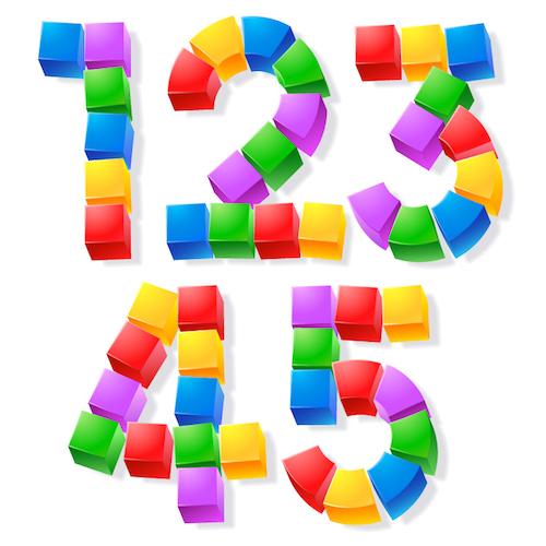 Alphabet of children's blocks. Vector illustration of funny cube font. Letters 12345 - Vector