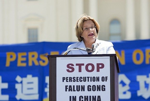 Congresswoman Ileana Ros-Lehtinen (R-Fla), speaking at a rally on the West Lawn of the U.S. Capitol in Washington, DC, Thurs. July 14, 2011. (Shaoshao Chen/Epoch Times)