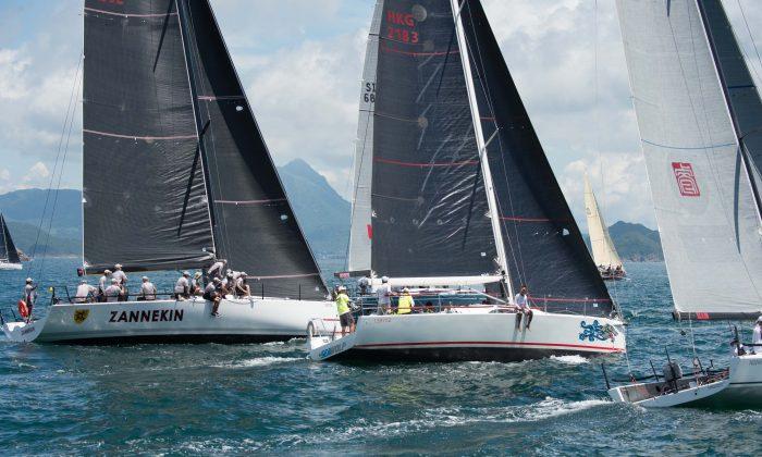 "'Seawolf' (IRC-B) starts race 2 of the Typhoon series alongside ""Zannekin"" ad 'XT' (IRC-A) on Sunday June 19, 2016. (Bill Cox/Epoch Times)"