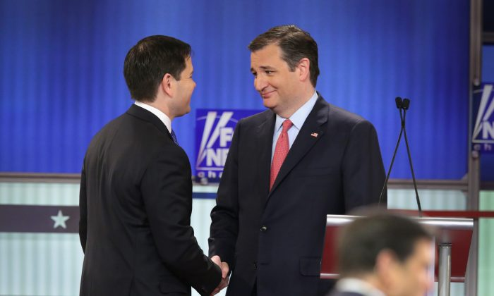 Republican presidential candidates (Lto R) Sen. Marco Rubio (R-FL) and Sen. Ted Cruz (R-TX) participate in a debate sponsored by Fox News at the Fox Theatre on March 3, 2016 in Detroit, Michigan. (Photo by Chip Somodevilla/Getty Images)