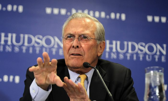 Former Secretary of Defense Donald  at the Hudson Institute in Washington in 2011. (Alex Wong/Getty Images)