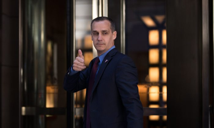 Corey Lewandowski, campaign manager for Donald Trump, gives the thumbs up as he leaves the Four Seasons Hotel after a meeting with Trump and Republican donors, June 9, 2016 in New York City.  (Photo by Drew Angerer/Getty Images)