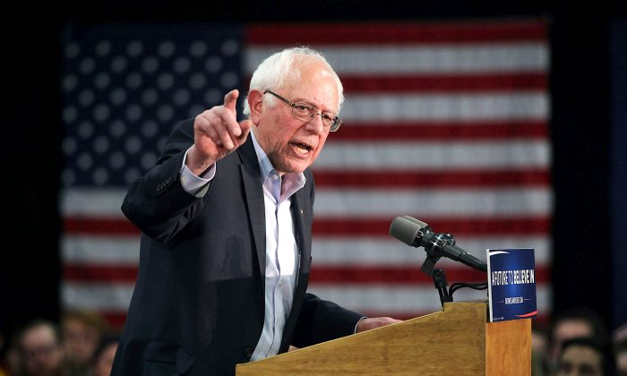 Democratic presidential candidate Sen. Bernie Sanders (I-VT) in Waterloo, Iowa, on Jan. 31. (Alex Wong/Getty Images)