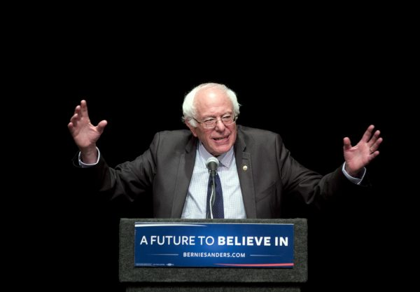 "Democratic presidential candidate Sen. Bernie Sanders (I-Vt.) delivers his ""Where We Go From Here"" speech in Albany, N.Y., on June 24, 2016. (AP Photo/Mike Groll)"
