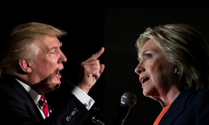 Left: Republican presidential candidate Donald Trump speaks during a campaign rally at The Fox Theatre on June 15, 2016 in Atlanta, Georgia. (Branden Camp/Getty Images); Right: Democratic presidential candidate, former Secretary of State Hillary Clinton speaks during a campaign rally on June 2, 2016 in El Centro, California. (Justin Sullivan/Getty Images)