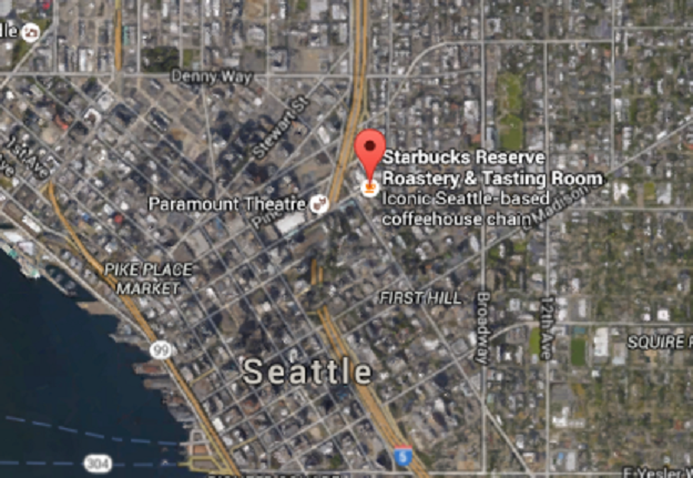 Starbucks Reserve Roastery and Tasting Room in downtown Seattle. (Screenshot of Google Earth)