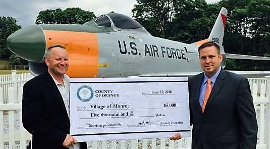 (L-R) James Purcell, mayor of the Village of Monroe, with County Executive Steven Neuhaus at Airplane Park in Monroe on June 26. (courtesy office of County Executive)