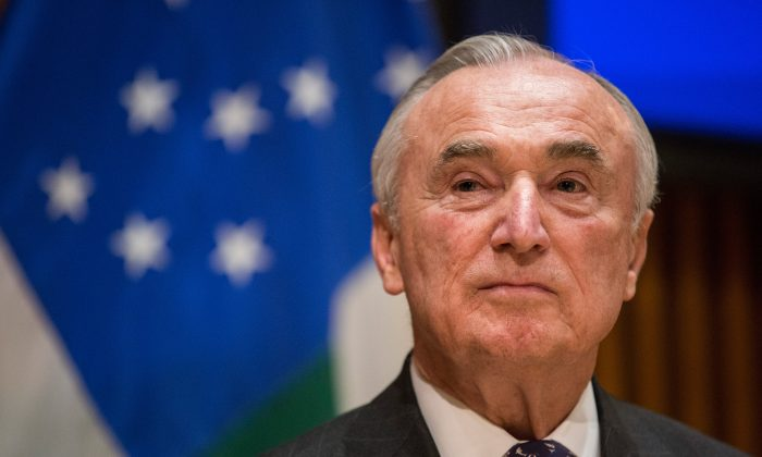 New York Police Department (NYPD) Commissioner Bill Bratton answers questions at a press conference after speaking at the NYPD Shield Conference in New York City on Dec. 16, 2015. (Andrew Burton/Getty Images)