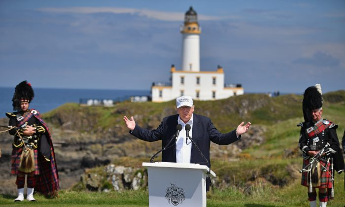 Presumptive Republican presidential nominee Donald Trump, on the 9th tee at his Trump Turnery Resort in Ayr, Scotland, on June 24. (Jeff J Mitchell/Getty Images)
