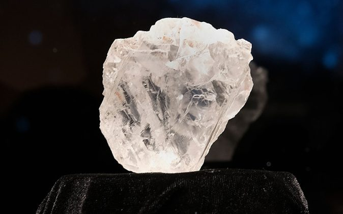 NEW YORK, NY - MAY 04: The 1109-carat rough Lesedi La Rona diamond, the biggest rough diamond discovered in more than a century, sits in a display case at Sotheby's on May 4, 2016 in New York City. Lesedi La Rona will be offered at auction in London on June 29 and be on display at Sotheby's New York. The diamond could sell for $70 million or more. (Photo by Spencer Platt/Getty Images)