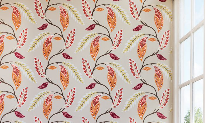 This undated photo provided by Osborne and Little shows wallpaper created by Londoner Nina Campbell. Campbell's new Fontibre collection for Osborne & Little is inspired by the travels of her great uncle, who was an accomplished watercolorist. Campbell's Fontibre pattern, shown here, is named after the source of the River Ebro in the Iberian Peninsula and features an arrangement of stylized painted foliage. (Simon Brown/Osborne and Little via AP)
