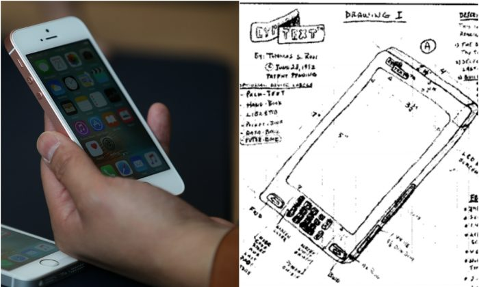 Left: An Apple iPhone SE. (Justin Sullivan/Getty Images); Right: Florida man Thomas Ross drew this device in 1992, alleging that the conception was later stolen by Apple. (Taken from court documents)