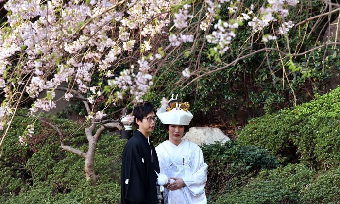 A bride and groom stand under a cherry blossom tree with flowers in full bloom in a hotel garden in Tokyo on April 2, 2015. (Yoshikazu Tsuno/AFP/Getty Images)