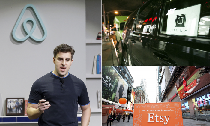 (L) Airbnb co-founder and CEO Brian Chesky in San Fransisco. (Top R) An Uber car in New York. (Benjamin Chasteen/Epoch Times) (Bottom R) Etsy sign in New York. (AP Photo/Jeff Chiu)