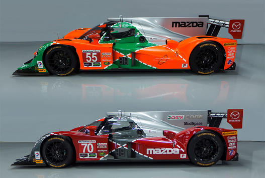 The #70 Mazda Motorsports prototype is painted in a similar pattern reflecting the marque's present and future. (IMSA.com)
