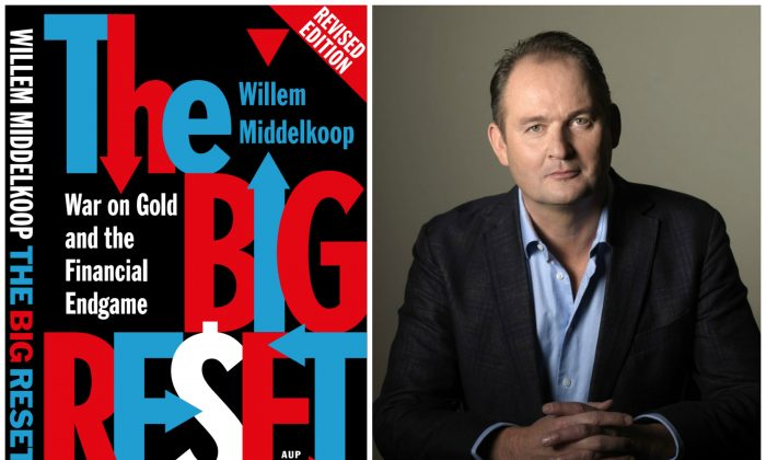 "Cover of ""The Big Reset"" and its author Willem Middelkoop (Epoch Times)"
