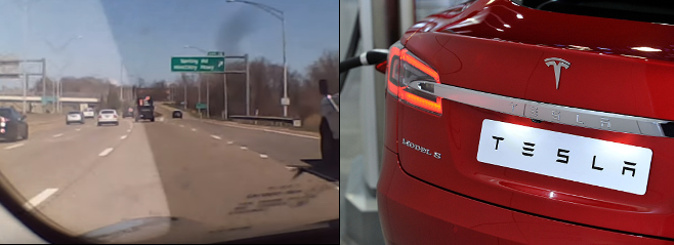 Josh Brown records his Tesla autopilot vehicle driving on the road, a video which he uploaded to his YouTube channel.(Screenshot/Josh Brown);Right:The Tesla Model S electric car is displayed during the 2016 London Motor Show at Battersea Evolution Marquee on May 5, 2016 in London, England. (Jim Dyson/Getty Images)