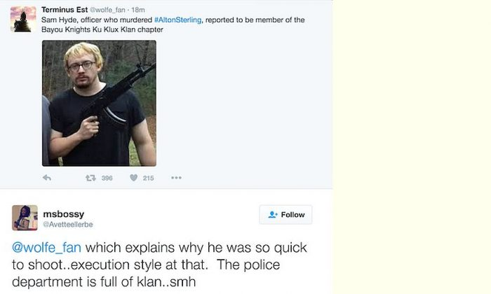 Sam Hyde isn't the Baton Rouge officer involved in Alton Sterling's shooting death. (Screenshot from 4chan's /pol/)