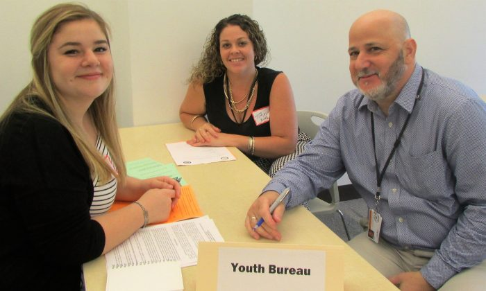 (L-R) Intern Emma Meier,  Youth Bureau program technicians Tiffany Niles, and Michael Bark at orientation of the Orange County Summer Intern Program on June 29, 2016. (courtesy office of County Executive)