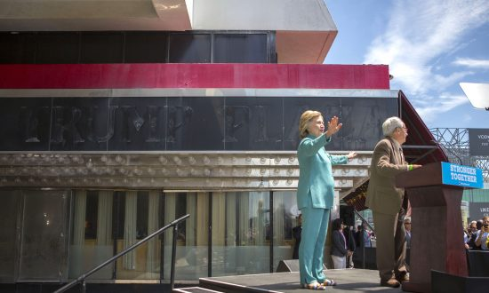 Standing in Front of the Abandoned Trump Plaza, Clinton Attacks Trump's Business Dealings