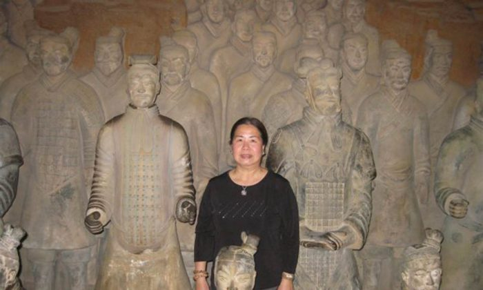 Sandy Phan-Gillis, a U.S. citizen, stands in the terracotta soldiers in Xi'an, China. (Jeff Gillis/SaveSandy.org)