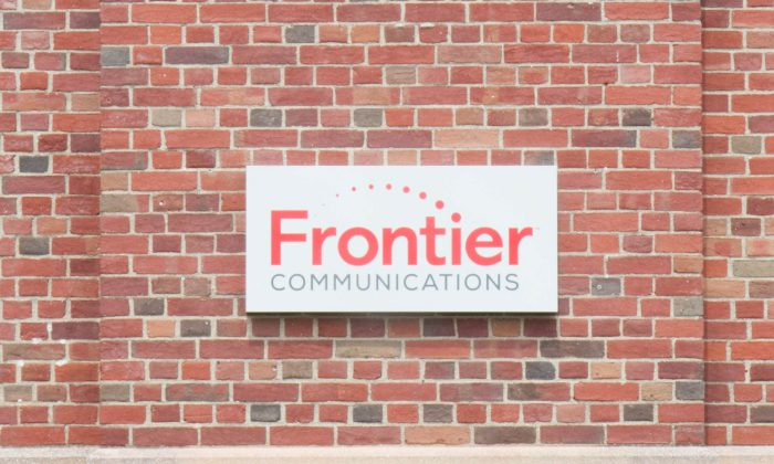 The sign on Frontier Communications office building in Middletown on July 8, 2016. (Holly Kellum/Epoch Times)