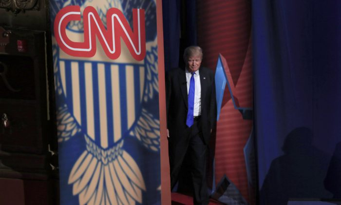 Republican Presidential candidate Donald Trump enters a CNN town hall event moderated by Anderson Cooper March 29, 2016 in Milwaukee, Wisconsin. The town hall was days before the Wisconsin primary on April 5. (Darren Hauck/Getty Images)