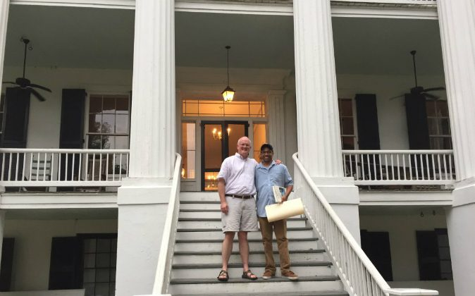 (R-L) Robert Adams and Nkrumah Steward at Wavering Place Plantation in South Carolina. (Photo courtesy Nkrumah Steward )